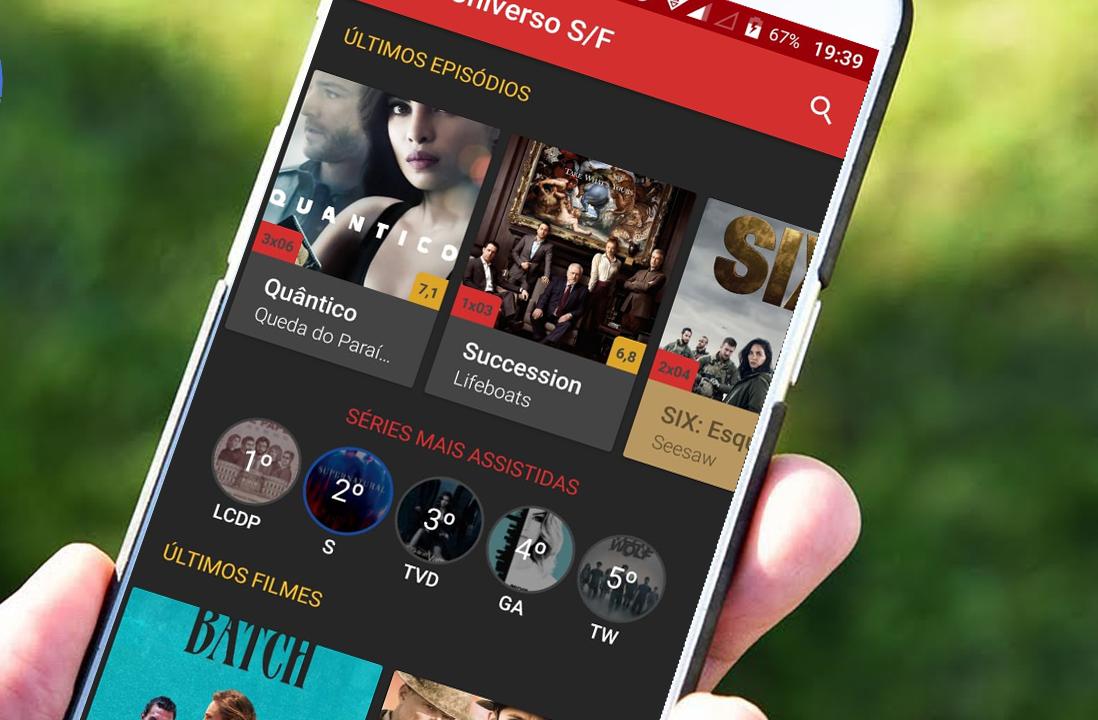 A biblioteca do App Universo SF é repleta de Séries e Filmes